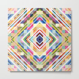 Satyr - Colorful Abstract Smmetric Mosaic Metal Print