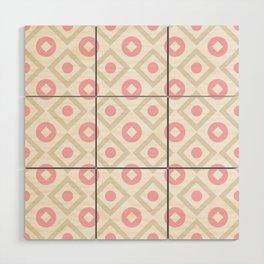 Pink pastel pattern of rhombuses and circles Wood Wall Art