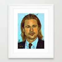 brad pitt Framed Art Prints featuring Brad Pitt II by Nick Arte