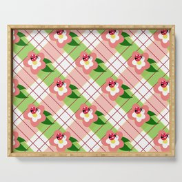 FLORAL PLAID Serving Tray