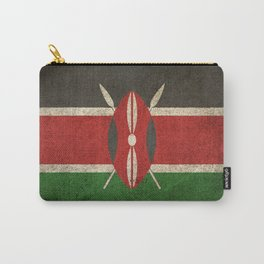 Old and Worn Distressed Vintage Flag of Kenya Carry-All Pouch