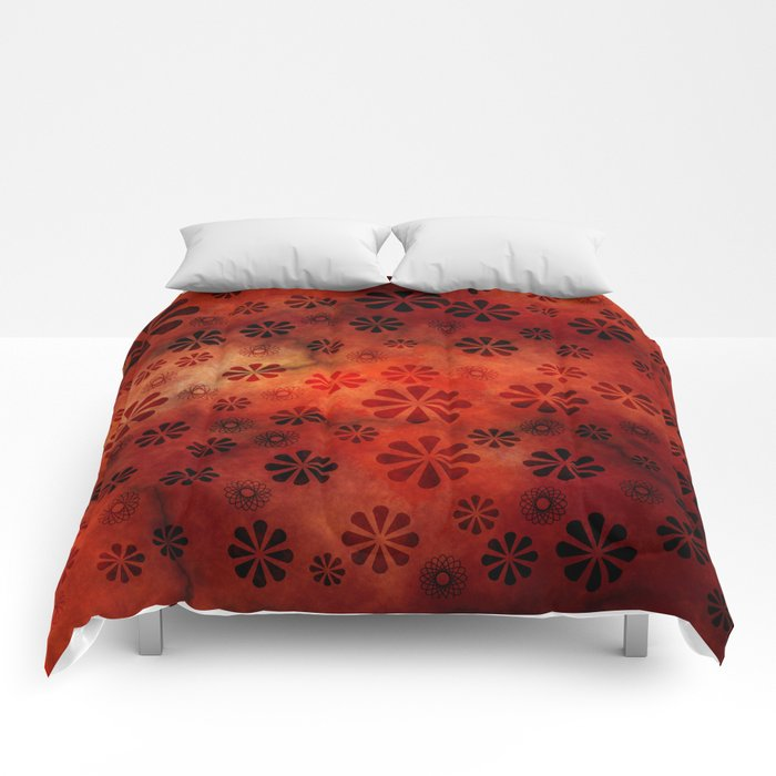 Burnt Orange Flowers Pattern Comforters