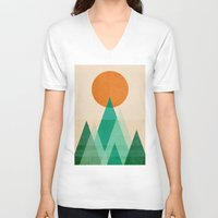mountains V-neck T-shirts featuring No mountains high enough by Picomodi