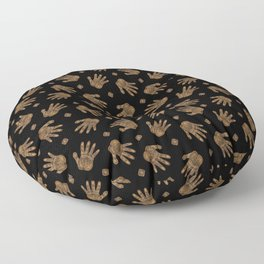 Spiral Hand Print - Gold and Black Floor Pillow