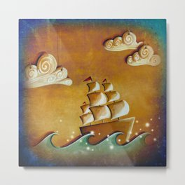 Lullaby Bay - ship at sea Metal Print