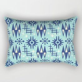 Mid Century Modern Atomic Space Age Pattern Blue Rectangular Pillow