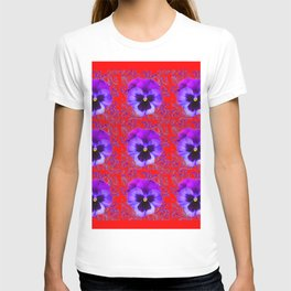 DECORATIVE PURPLE PANSY FLOWERS ON RED COLOR T-shirt