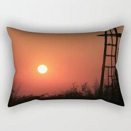 Blazing Red Kansas Windmill Silhouette Rectangular Pillow