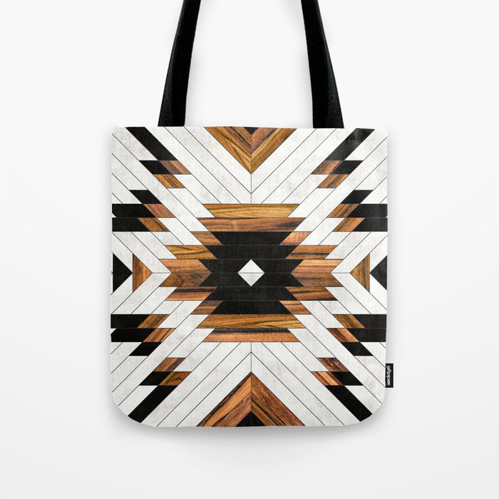 Urban Tribal Pattern 5 - Aztec - Concrete and Wood Tote Bag