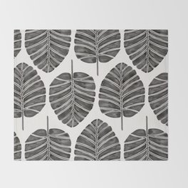 Elephant Ear Alocasia – Black Palette Throw Blanket