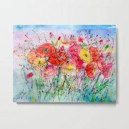 Summer Breeze Poppies Watercolor  Metal Print