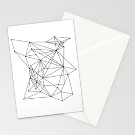 White Geometric Dots and Lines Stationery Cards