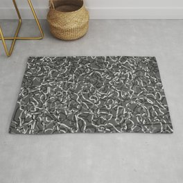 Chaotic steel tangled ropes and dark lines. Rug