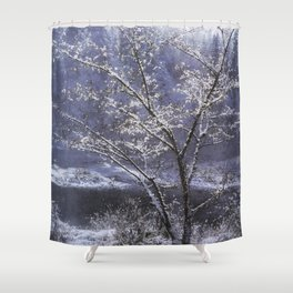 Snow Flowers Whimsy Shower Curtain