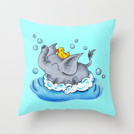 Bubble Bath Buddy Throw Pillow