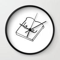 tits Wall Clocks featuring Tits on Toast by Carolyn Figel