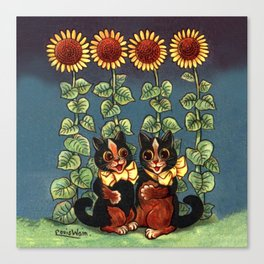 Cats & Sunflowers - Louis Wain Cats Canvas Print