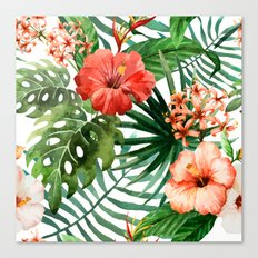 Hibiscus and Palm Leaf Pattern Canvas Print