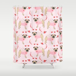 Pug love cupid dog costume valentines day pet gifts pugs Shower Curtain