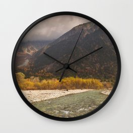 Azusa River and Autumn colours in Kamikochi, Japan Wall Clock