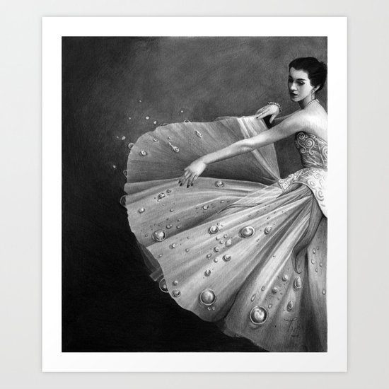 White Morning - graphite pencil drawing Art Print