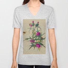 Wild Thistle & Bees Botanical Print 1800s Unisex V-Neck
