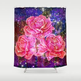 Roses with sparkles and purple infusion Shower Curtain