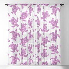 Sea Turtle in Pink Sheer Curtain