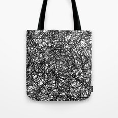 Angry Scribbles - Black and white, abstract, black ink scribbles pattern Tote Bag