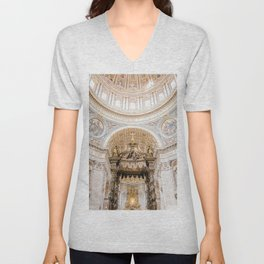 Saint Peters Cathedral, San Pietro, Vatican City, Rome, Italy Unisex V-Neck