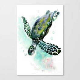 Sea Turtle, underwater scene,  green turquoise beach house design Canvas Print