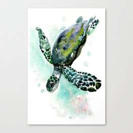 Sea Turtle, underwater scene,  green turquoise beach house design Canvas Print