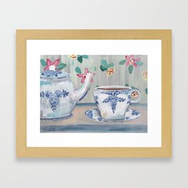Blue & White china teapot Framed Art Print