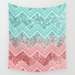 Summer Vibes Glitter Chevron #1 #coral #mint #shiny #decor #art #society6 Wall Tapestry