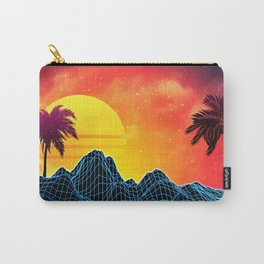Sunset Vaporwave landscape with rocks and palms Carry-All Pouch