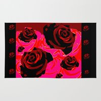 50s Area & Throw Rugs featuring 50s ROSES BLACK PRINT by Marmalademudpie and Me