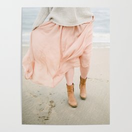 Coastal photography of a woman holding her flowy skirt at the beach. Pastel colored print Poster