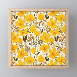 Yellow roaming wildflowers Framed Mini Art Print