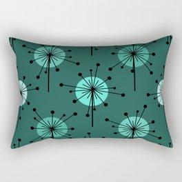Atomic Era Sputnik Starburst Flowers Teal Rectangular Pillow