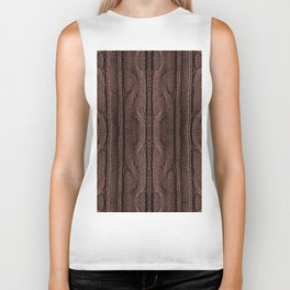 Brown braid jersey cloth texture abstract Biker Tank