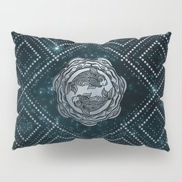 Pisces Zodiac Silver Embossed on the Star sky Pillow Sham