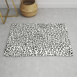 Black and White Snow Leopard Rug