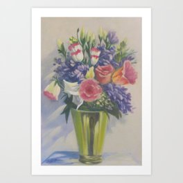 Various blooms in brass vase - Still life 5 in a Series of 10 Art Print