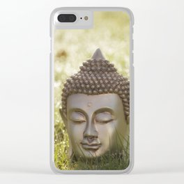 Buddha in the bright lights of morning dew Clear iPhone Case