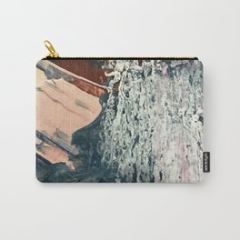 Kelly [2]: a bold, textured, abstract mixed media piece in fall colors/ blue, burnt sienna, ochre Carry-All Pouch