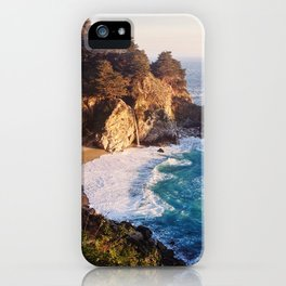 Golden Sunshine on California Waterfall - Big Sur iPhone Case