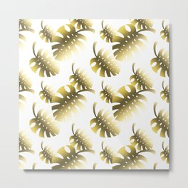 Modern gold color tropical cheese leaves pattern Metal Print