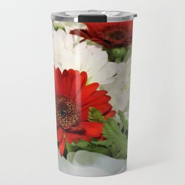 Red and white Bouquet Travel Mug