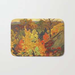 Canadian Landscape Oil Painting Franklin Carmichael Art Nouveau Post-Impressionism Autumn Bath Mat