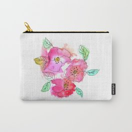 Pink Watercolor Flowers // Floral Feelings Carry-All Pouch